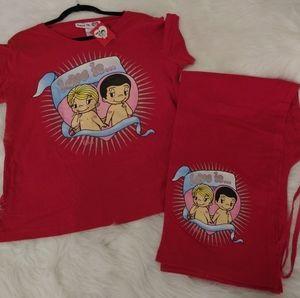 Love Is.. Pajamas! Matching Tee Shirt & Bottoms